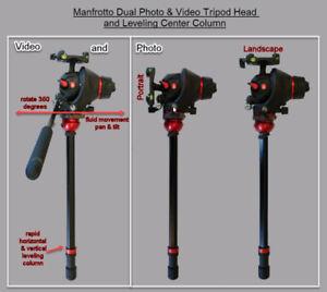 Manfrotto Dual Photo-Movie Tripod Head & Leveling Center Column