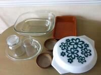 Kitchen bundle with glassware Pyrex earthenware