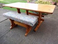 Pine Table & two covered benches
