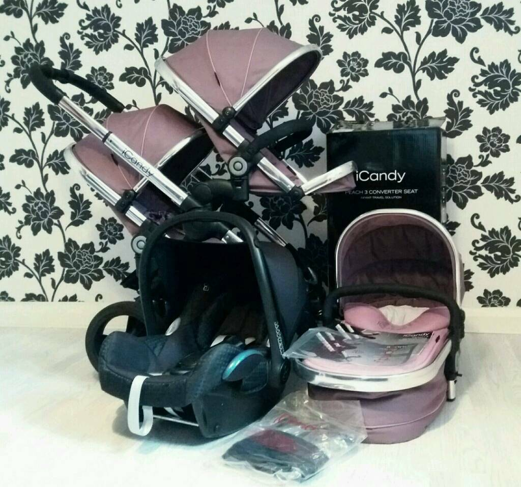 Icandy Peach 3 Leather handle Double Buggy Stroller Pram Carrycot ...