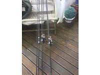 Daiwa Crosscast S (pair) Also 3 Fox Warrior S Rods