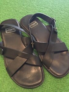 Lacoste Paris black leather sandals men's 6.5