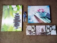 5 wooden framed pictures posters/art