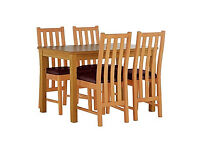 Stanford Oak Effect 120cm Dining Table & 4 Chocolate Chairs