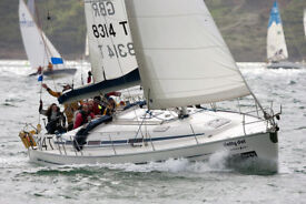 Sailing cruising yacht Bavaria 38 40ft LOA with 8 berths in 3 double cabins plus saloon. Fin keel.