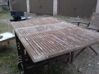 Large Folding Garden Table 6 Chairs Fold Store Inside It. £25 delivered