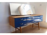 Meredew refurbished Vanity Table, Light oak colour with blue drawers