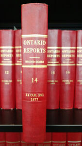 Ontario Reports 2nd Series Volumes 1-75 plus Cons. Indices