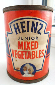 VINTAGE 1940s HEINZ JUNIOR VEGETABLES (4 3/4 oz) PAPER LABEL TIN
