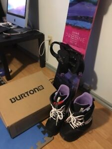 Women's snowboard and Burton boots (size 7), brand new