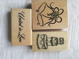 3 large rubber stamps wedding bells, wedding cake, united in love
