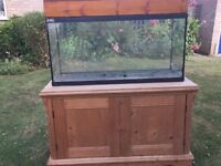 Tropical Fish Tank, Hood and Wood Cabinet