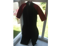 TRIBORD Children's Neoprene Shorty Surfing Wetsuit – Black/Red