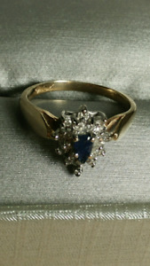 Gold diamond and saphire ring OBO