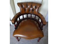 Brown Leather Mahogany Wood Desk Office Chesterfield Captains Chair