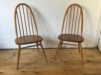 Ercol Quaker Kitchen Dining Chairs x 2 Natural Colour