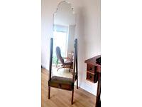 Full Length Wood Cheval Mirror [Swivel Floor Standing Vintage Antique Bedroom Boudoir Dressing Room]