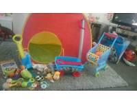 Kids toy bundle paw patrol tent sword rattles