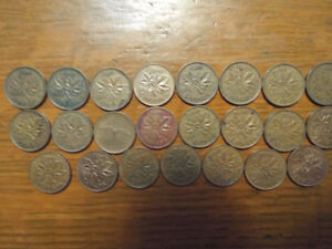 22 Old Canadian Pennies - 1950's - 1970's