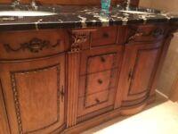 Double vanity bathroom cabinet inclusive of two sinks