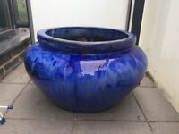 Large Cobalt Blue Earthenware Pot Planter