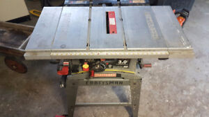 "Craftsman Table Saw. 3 Hp. 10""."