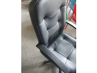 Harvey William - PU Faux Leather High Back Armrest Adjustable Height & Swivel Function Office Chair