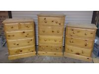 Set of 3 Solid Pine Chests of Drawers with Dovetail Joints