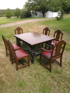 Antique dining set with 6 chairs
