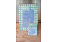 Set of Six Pimpernel Place and Drink Mats - Green and Blue Check