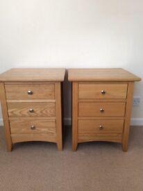 Pair of oak bedside drawers