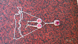 Silver ruby drop earrings and necklace