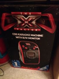 X Factor karaoke machine with black and white screen