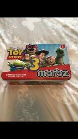 Toy story 3 limited edition marbles and tin