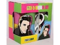 CAN DELIVER Elvis Presley THE KING Retro POP ART COLOURS COFFEE TEA MUG / CUP & COASTER Gift Set