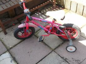 Childs Fire Chief bike 12'' wheels and stabilisers (age 3 to 5 approx)