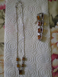 Silver amber bracelet with matching necklace