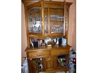 Oak display cabinet table &chairs