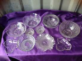 Job lot pretty glass and lead crystal bowls for weddings