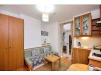 Studio flat with open plan kitchen, en-suite shower/WC and PATIO GARDEN. 5min walk PIMLICO station.