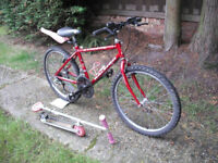 "Boys / Girls Raleigh Cyclone Mountain Bike - 24"" Wheels -15 Gears + Free Micro Scooter"