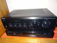 Sony Amplifier and Marantz CD Player with Two Speakers