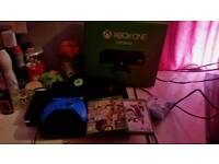 Xbox one 500gb with blue controller and headset and 2 games