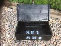 Vintage military ammo box coffee table on low hairpin legs