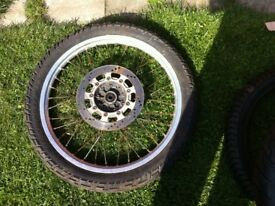 KLR 600 front wheel and tyre