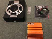 "AUNA SPL 600W 10"" Subwoofer, EDGE ED7300 Amplifier and Vibe Slick 8 gauge wiring kit"