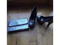 Sparkly High Heels With a Matching Bag