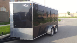 "2014 7' x14'  + 24"" V Nose Enclosed Cargo Trailer with Rear Ramp"