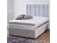 🔥💥EXPRESS DELIVERY🔥💥BRAND NEW DOUBLE & KING CRUSHED VELVET DIVAN BED WITH DEEP QUILTED MATTRESS