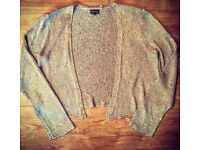Sparkly Sequinned Gold Cardigan - Size 14